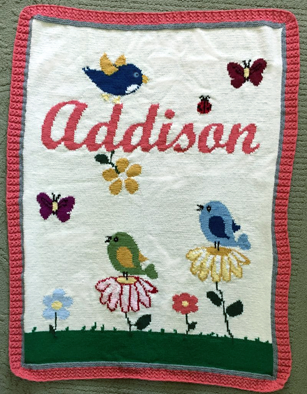 Free Knitting Pattern for Birds and Flowers Baby Afghan