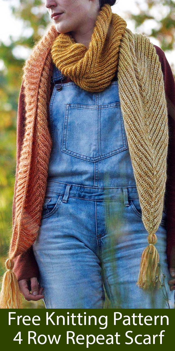 Free Knitting Pattern for 4 Row Repeat Scarf With Pointed Ends