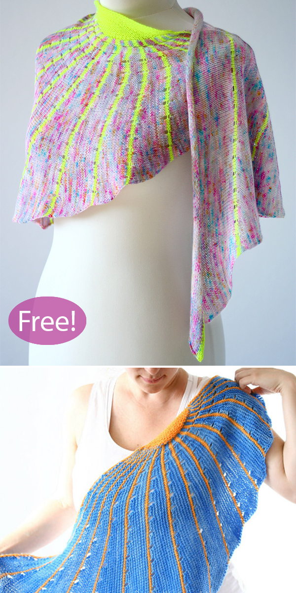 Free Knitting Pattern for Fluorescent Sun Shawl