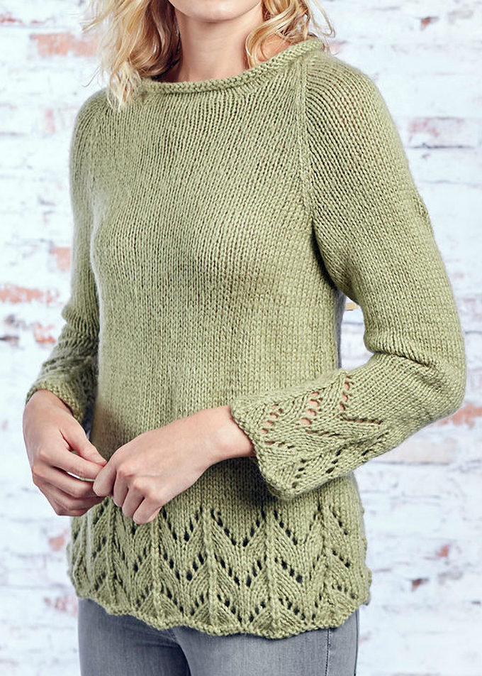 Free Knitting Pattern for Fluted Lace Pullover