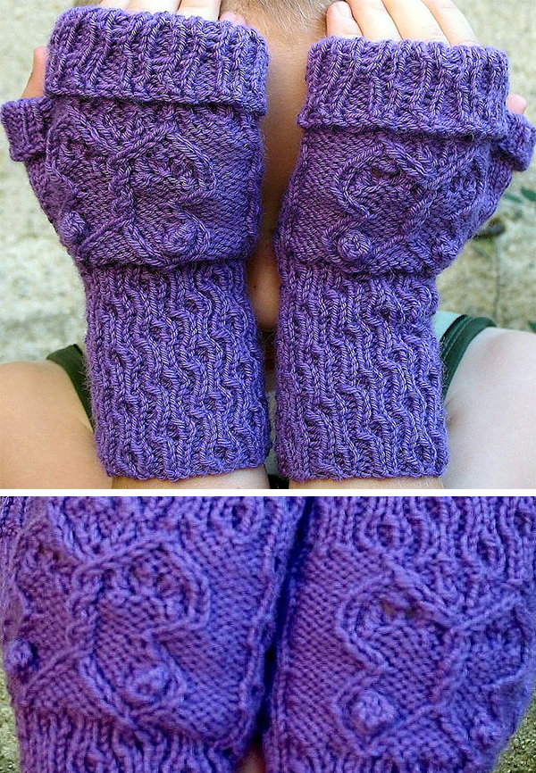 Free Knitting Pattern for Flutterby Mitts