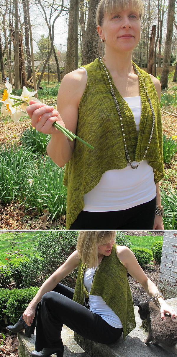 Free Knitting Pattern for Easy Flyaway Vest