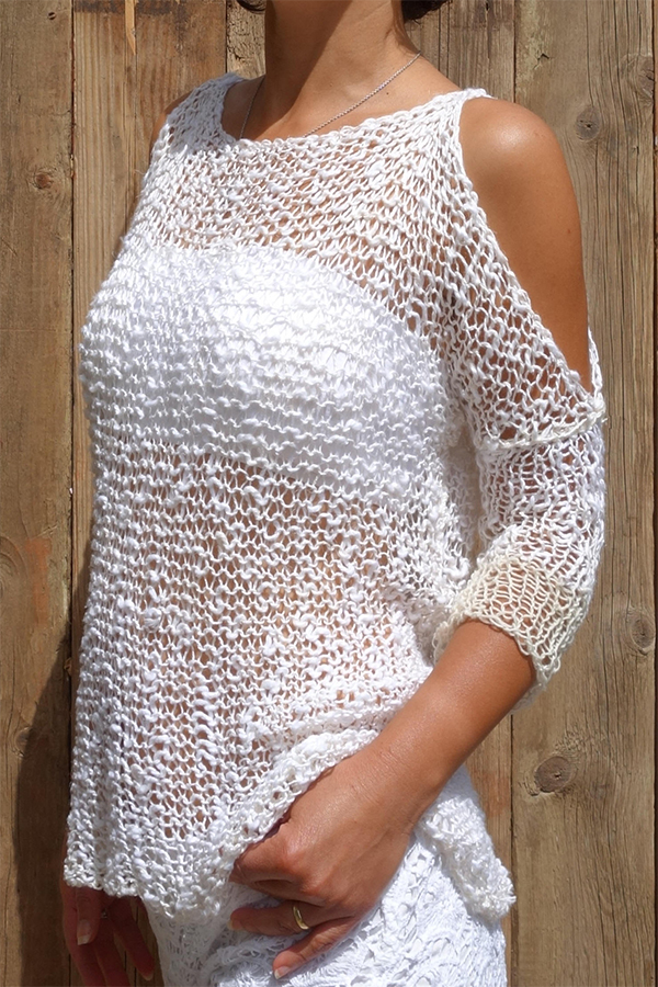 Knitting Pattern for Foam Cold Shoulder Top