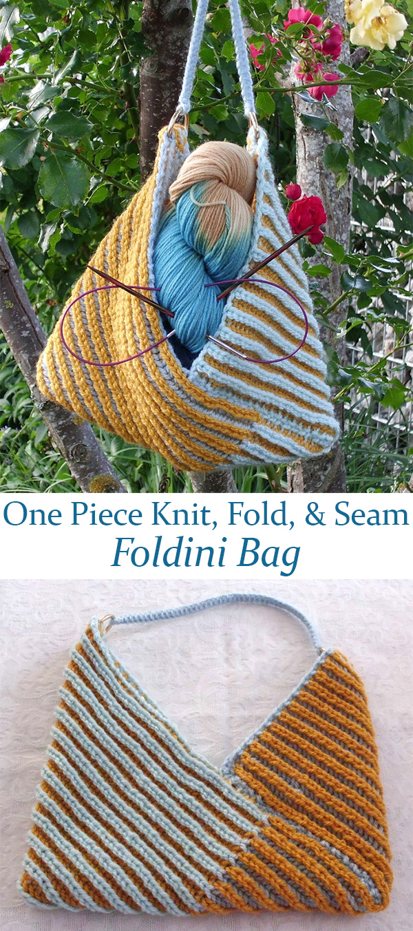 Free Knitting Pattern for One Piece Foldini Bag