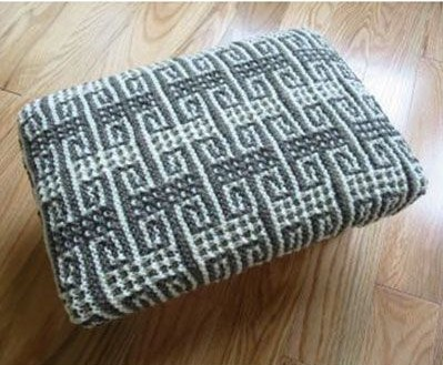 Free knitting pattern for Mosaic Footstool Cover