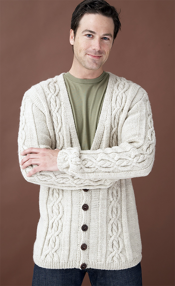 Free Knitting Pattern for Forever Classic Heirloom Cables Adult Cardigan