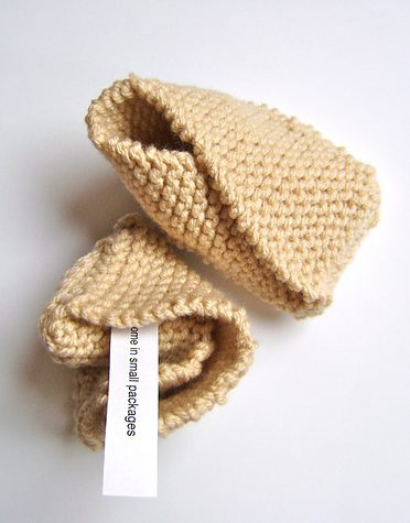 Free knitting pattern for Fortune Cookie Baby Booties and more booties knitting patterns