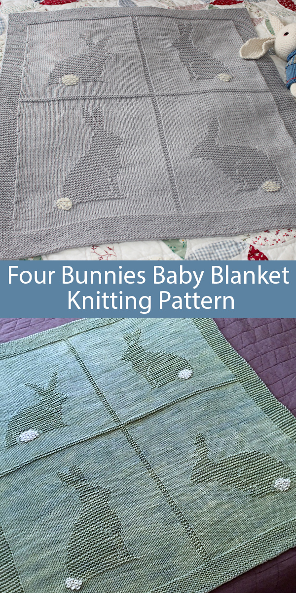 Knitting Pattern for Four Bunnies Baby Blanket