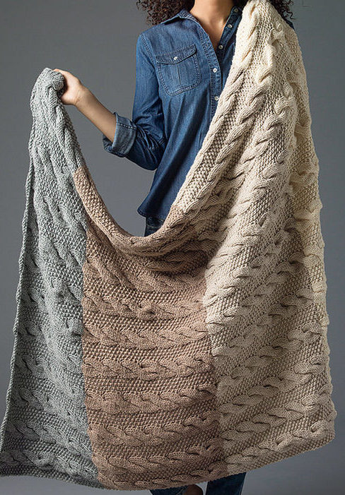 Free Knitting Pattern for Four Color Cable Afghan