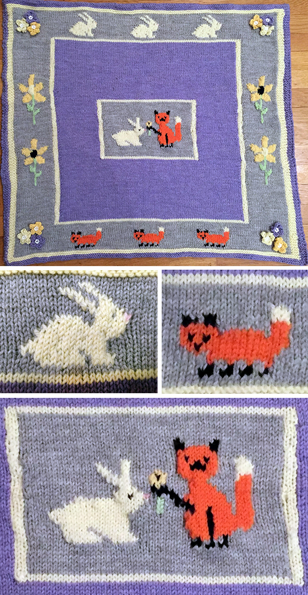 Free Knitting Pattern for Fox and Bunny Blanket