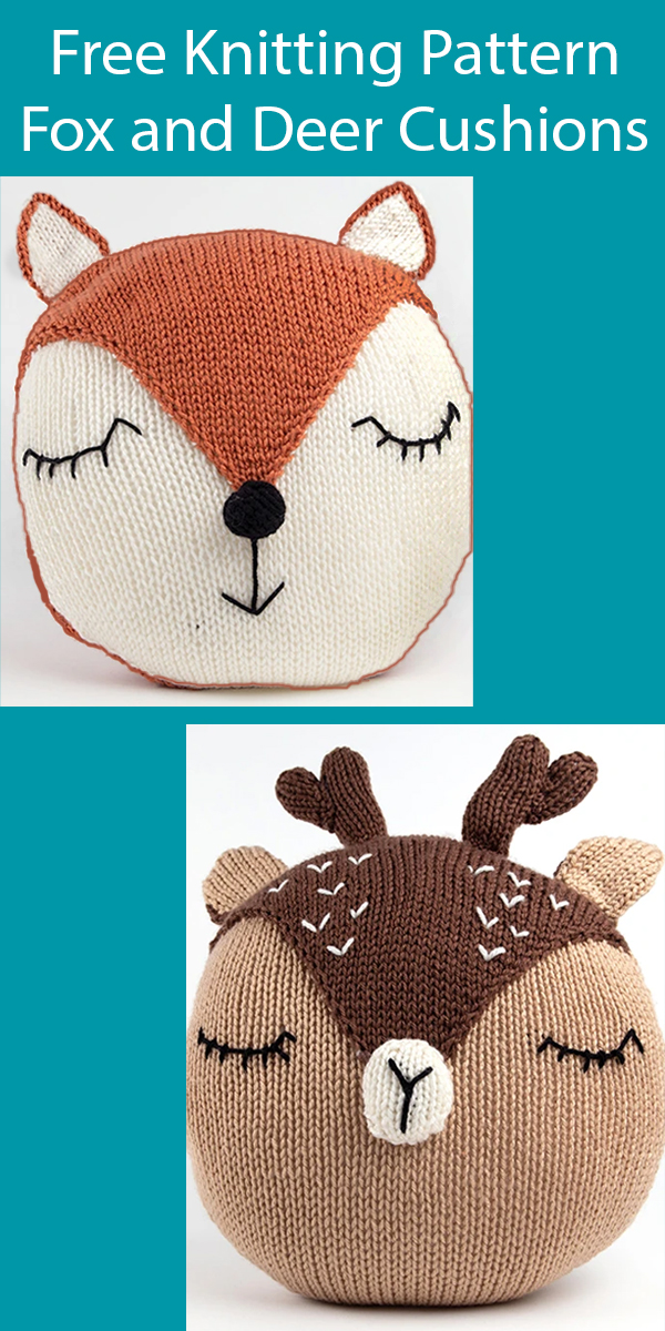 Free Knitting Pattern or $14 Kit for Fox and Deer Cushions. Kit also available.