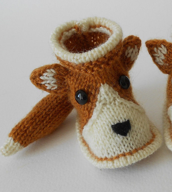 Free Knitting Pattern for Fox Baby Booties