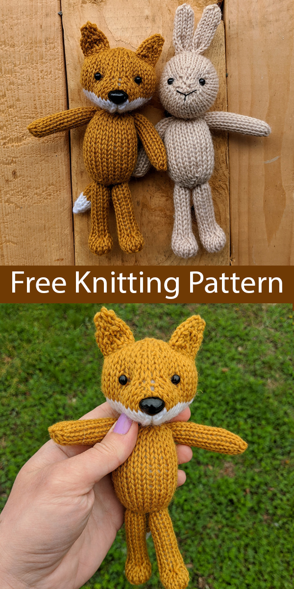 Free Knitting Pattern for Fox & Bunny Toys