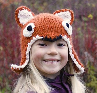 Fox Hat with ear flaps free knitting pattern