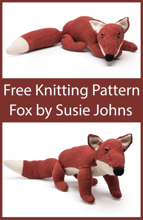 Free Knitting Pattern for Fox Toy Softie