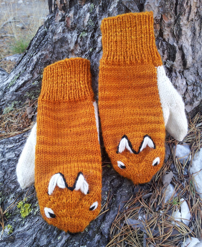 Free Knitting Pattern for Fox Mittens