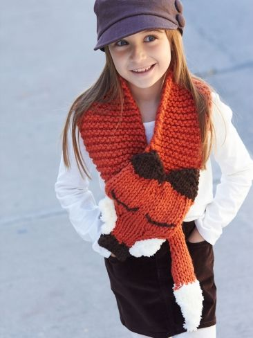 Like a Fox! Scarf | Free Knitting Patterns | Yarnspirations Free fox knitting patterns at http://intheloopknitting.com/free-fox-knitting-patterns/