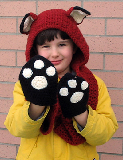 Free Knitting Pattern for Fox Scoodie with Paw Pockets