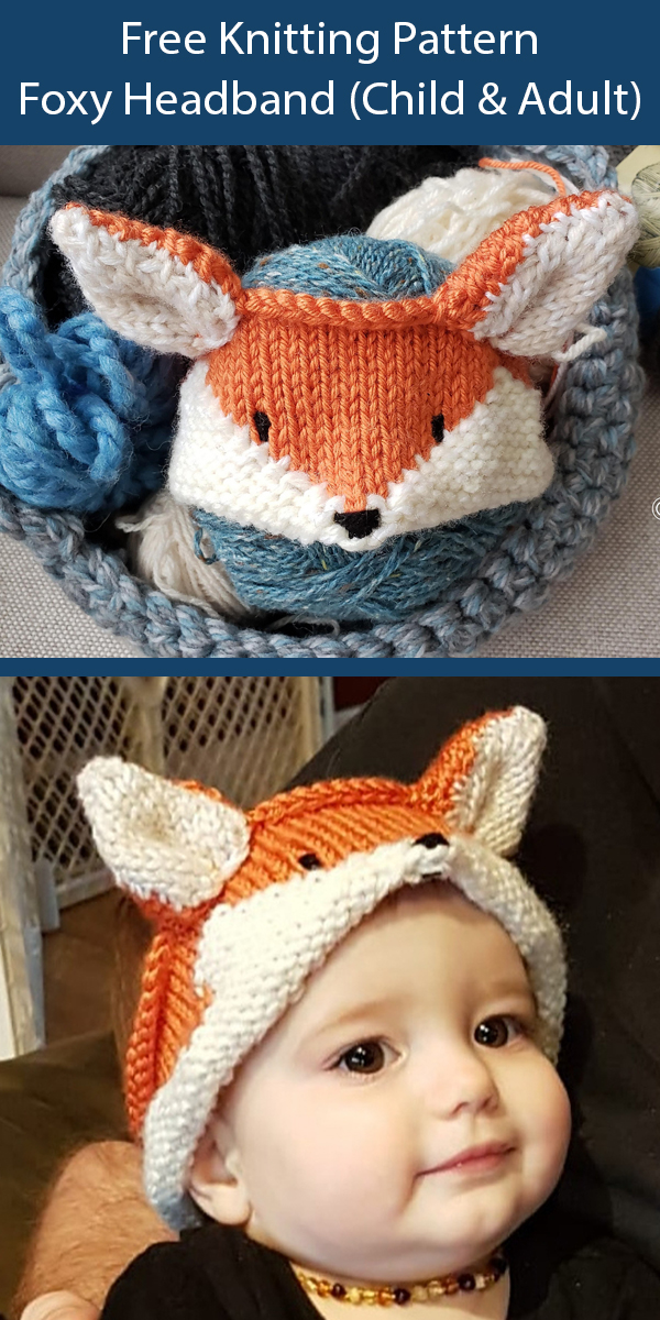 Free Knitting Pattern for Foxy Headband for Children, Youth, Adult