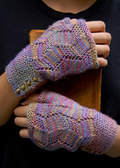 Free knitting pattern for Fractured Light Mitts and more wristwarmer knitting patterns