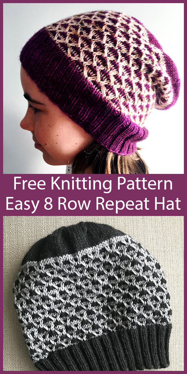 Free Knitting Pattern for Easy 8 Row Repeat Frankie Hat