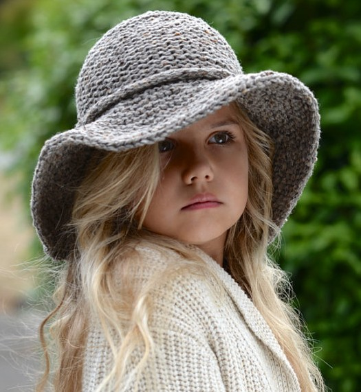 Knitting pattern for Adult and Child Freelyn brimmed hat