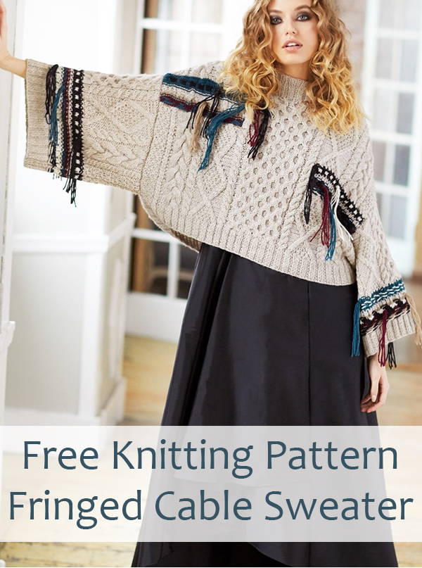 Free Knitting Pattern for Fringed Cable Sweater