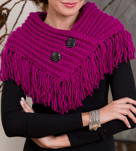 Free Knitting Pattern for One Row Repeat Fringed Cowl