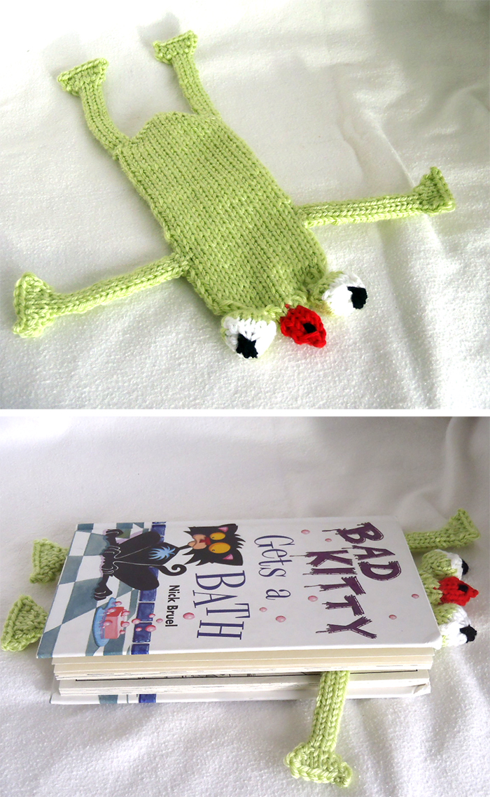Knitting Pattern for Frog Bookmark