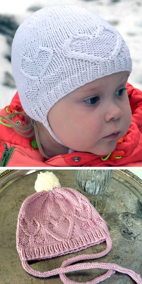 Free Knitting Pattern for From the Heart Bonnet or Beanie in Baby, Child, and Adult Sizes