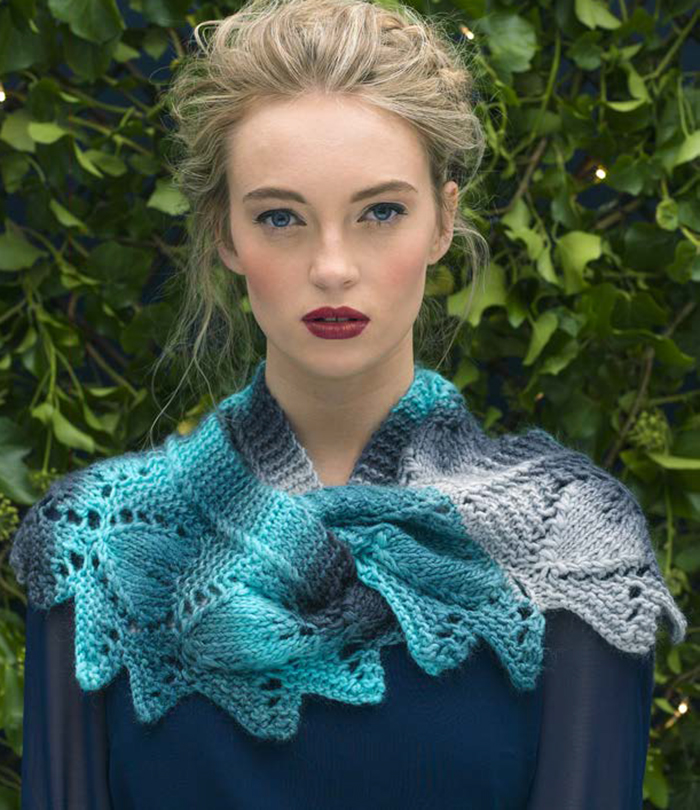 Free Knitting Pattern for Frosted Leaves Cowl