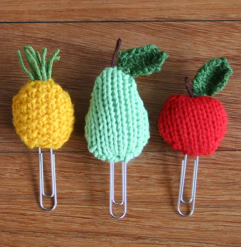 Free Knitting Pattern for Fruit Bookmarks or Clips