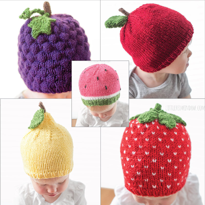 Knitting Patterns for Fruit Baby Hats