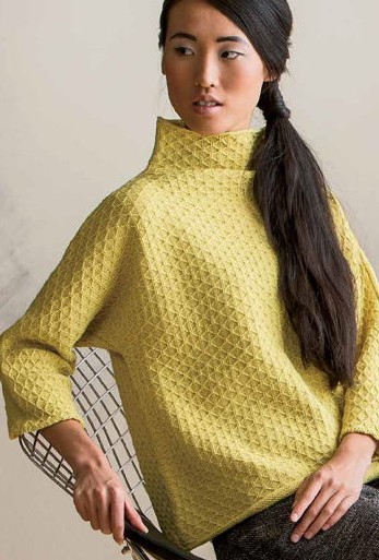 299b038bacce4a Knitting pattern for Diamond Pullover with Funnel collar