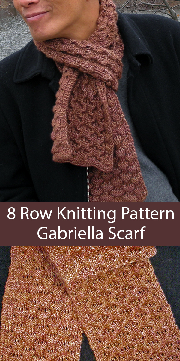 Knitting Pattern for 8 Row Repeat Gabriella Reversible Scarf