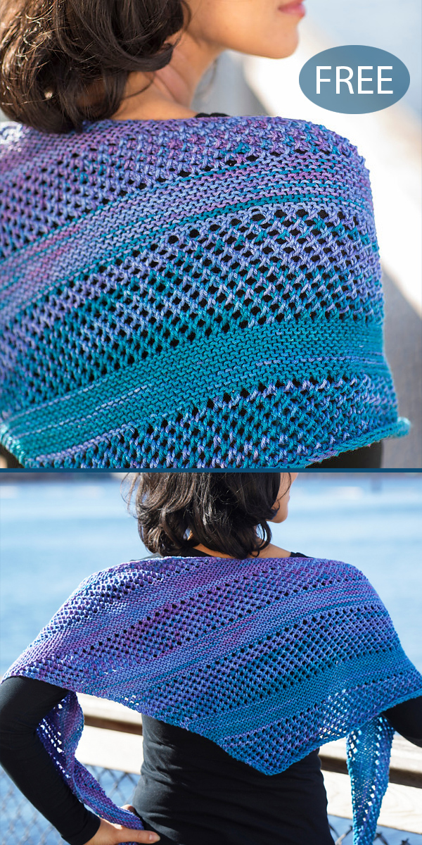 Free Knitting Pattern for Easy Galaxy Lemonade Shawl