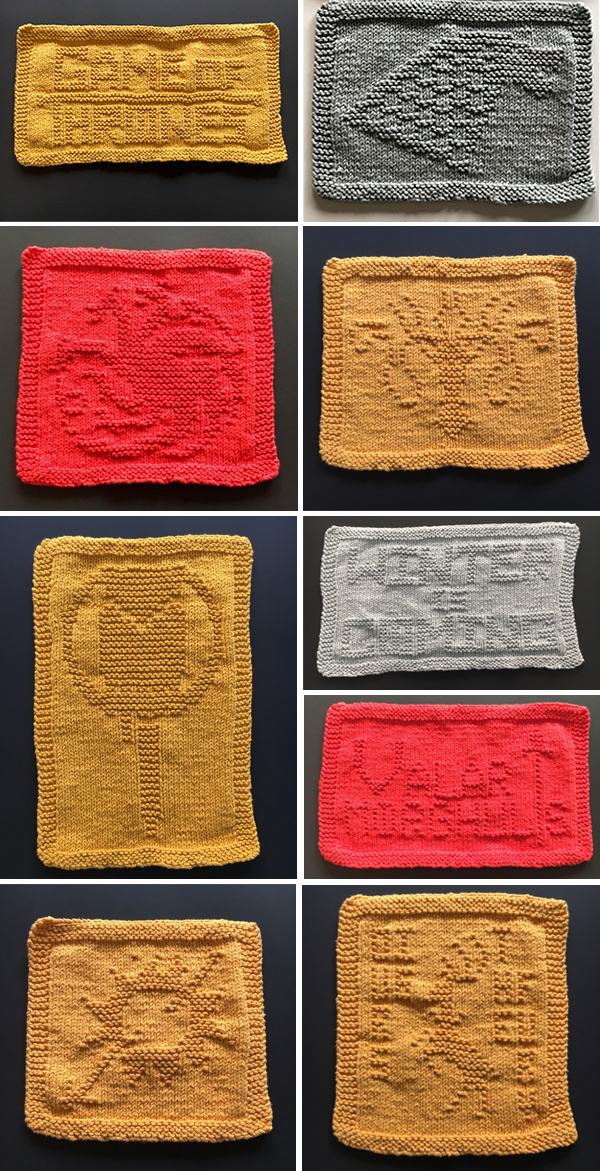 Knitting Patterns for Game of Thrones Dish or Wash Cloths