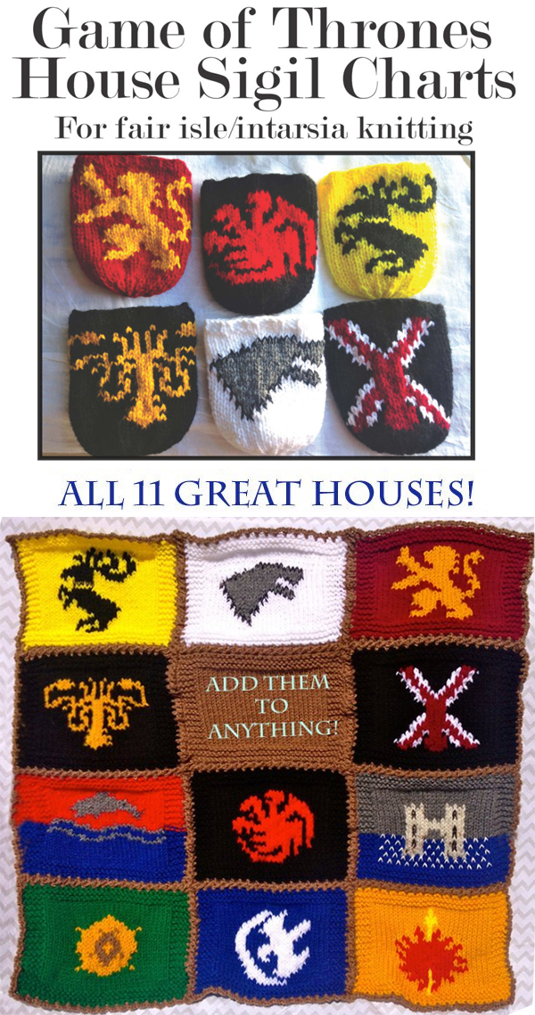 Knitting Patterns for Game of Thrones House Sigil Charts for Knitting