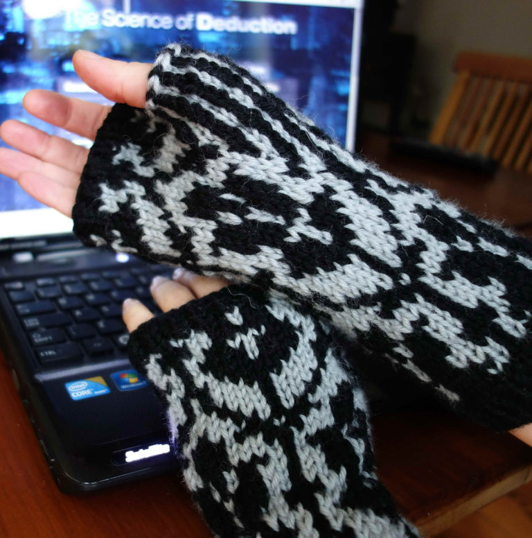 Free Knitting Pattern for Sherlock Inspired Mitts - The Game Is On