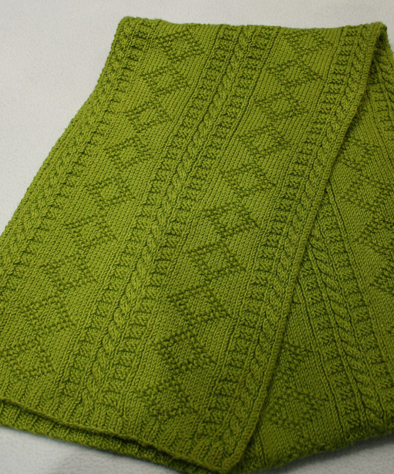 Free Knitting Pattern for Guernsey or Gansey Scarf