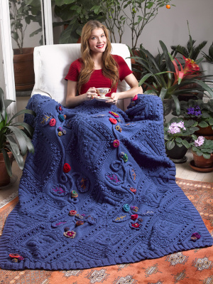 Free knitting pattern for Garden Fantasy Afghan and more cable throw knitting patterns