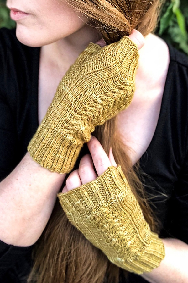 Free Knitting Pattern for Garden Of Shadows Mitts