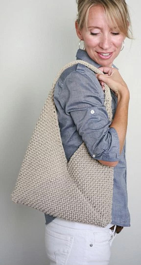 Free Knitting Pattern for Folded Tote in Garter Stitch