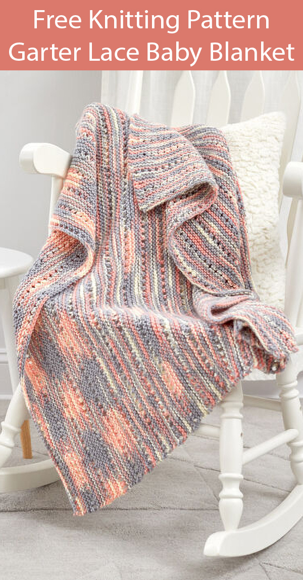 Free Knitting Pattern for Easy Garter Lace Baby Blanket