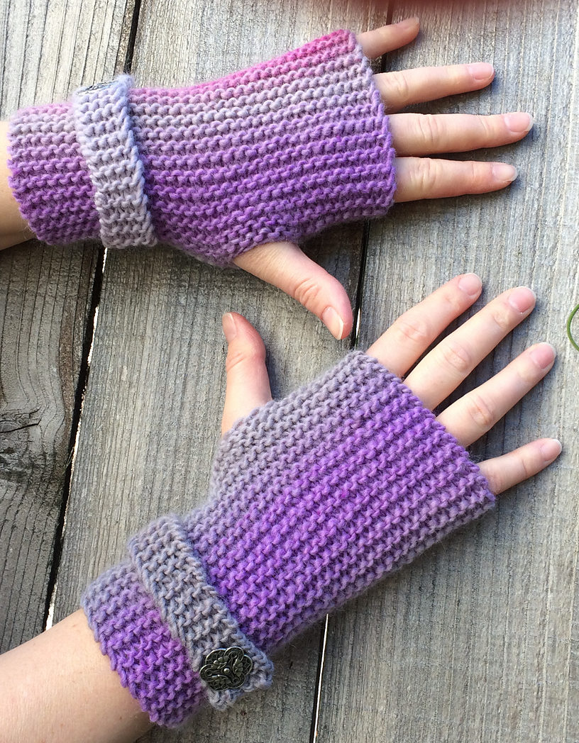 Free Knitting Pattern for Easy Garter Stitch Fingerless Mitts