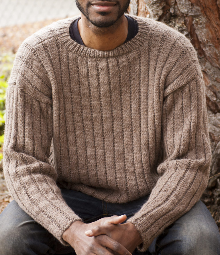 Free Knitting Pattern for Garter Rib Men's Sweater