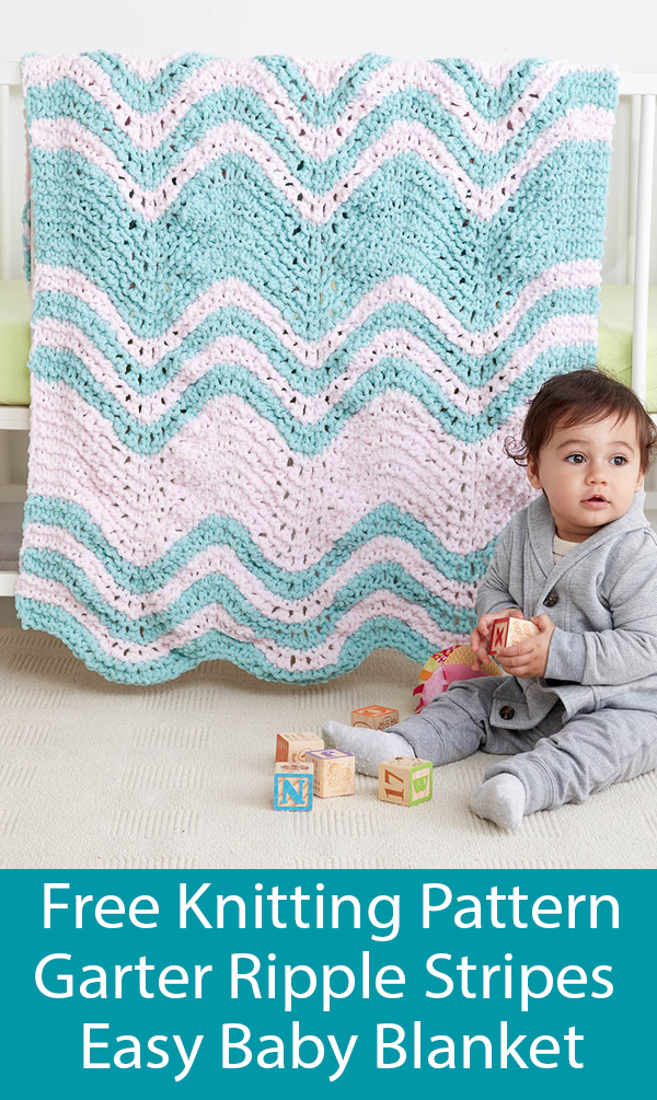 Free Knitting Pattern for Easy Garter Ripple Stripes Baby Blanket