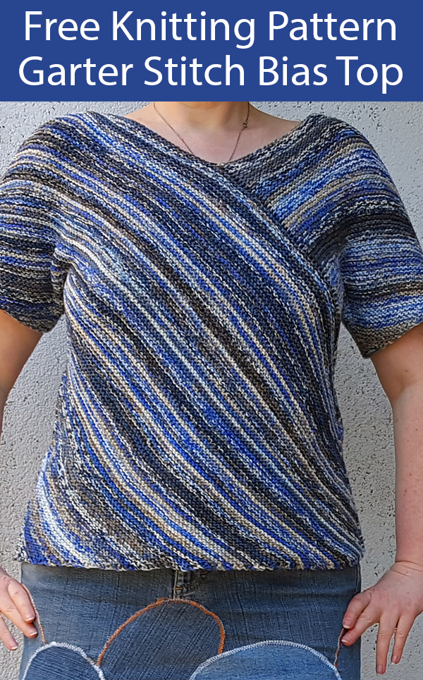 Free Knitting Pattern for Garter Stitch Bias Top
