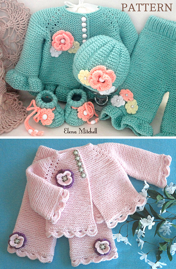 Knitting Pattern for Garter Stitch Baby Layette Set