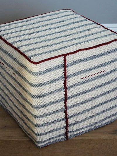 Free knitting pattern for striped garter stitch ottoman footstool cover